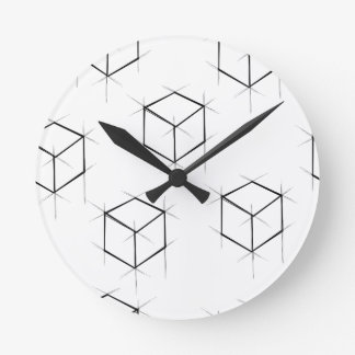 Abstract modern blueprint style cubic boxes round clock