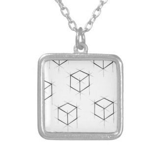 Abstract modern blueprint style cubic boxes silver plated necklace