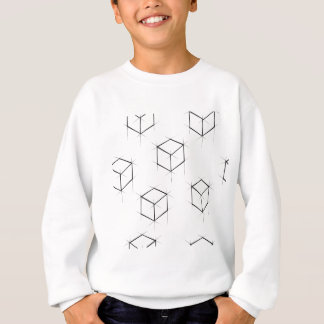 Abstract modern blueprint style cubic boxes sweatshirt