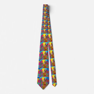 Abstract Modern Boho Colorful Artistic City Urban Tie