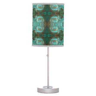 Abstract Modern Filigree Turquoise and Rust Table Lamp