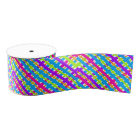 Abstract Modern Multicolor Neon Plaid Pattern Grosgrain Ribbon