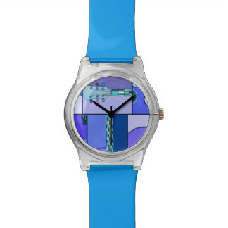 Abstract Modern Pop Art Guitar in Shades of Blue Watch