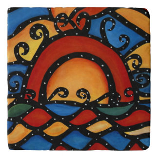 Abstract Modern Sunset Trivet