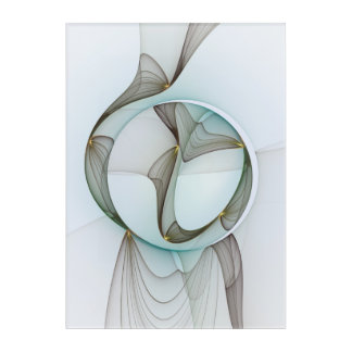 Abstract Modern Turquoise Brown Gold Elegance Acrylic Wall Art
