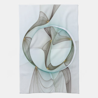 Abstract Modern Turquoise Brown Gold Elegance Kitchen Towel