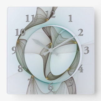 Abstract Modern Turquoise Brown Gold Elegance Square Wall Clock