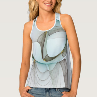 Abstract Modern Turquoise Brown Gold Elegance Tank Top