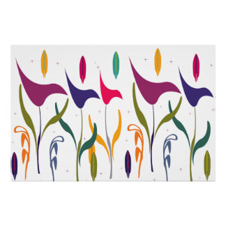 Abstract Modern Watercolor Calla Lily Impression Poster