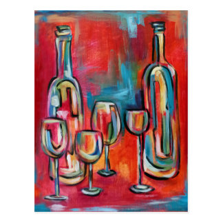 Abstract Modern Wine Bottles and Glasses Postcard