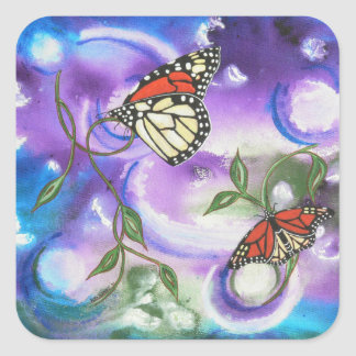 Abstract Monarch Butterfly Thank You Stickers