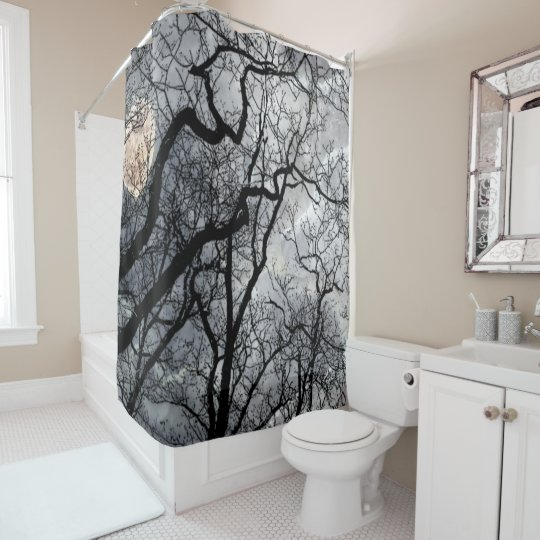Abstract moon tree black white Shower curtain