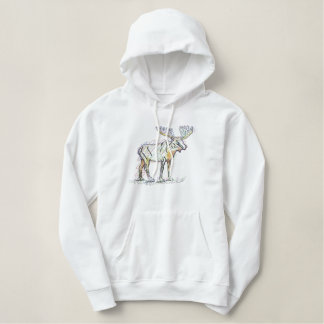 Abstract Moose Embroidered Hoodie