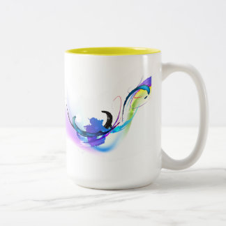 Abstract Morning Glory Paint Splatters Two-Tone Coffee Mug