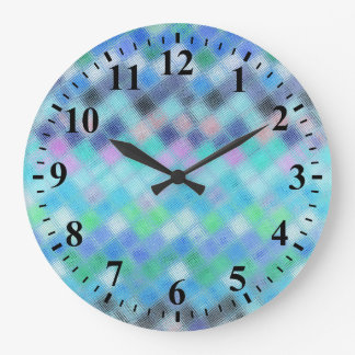 Abstract Mosaic Glass Pattern #3 Large Clock