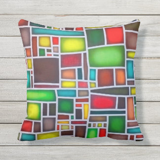 Abstract mosaic outdoor pillow