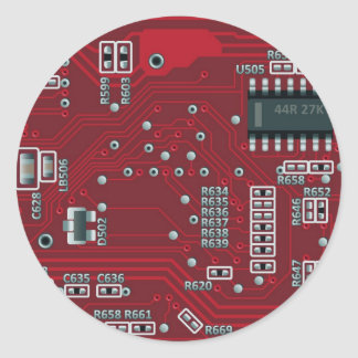 Abstract motherboard classic round sticker
