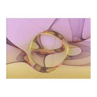 Abstract Motions, Modern Light Pink Yellow Fractal Acrylic Wall Art
