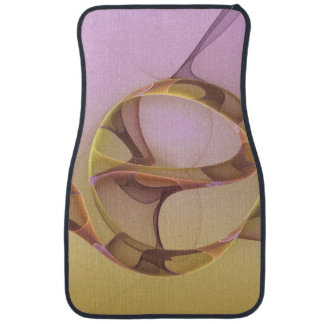 Abstract Motions, Modern Light Pink Yellow Fractal Car Mat