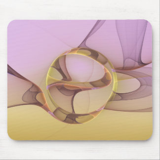 Abstract Motions, Modern Light Pink Yellow Fractal Mouse Pad