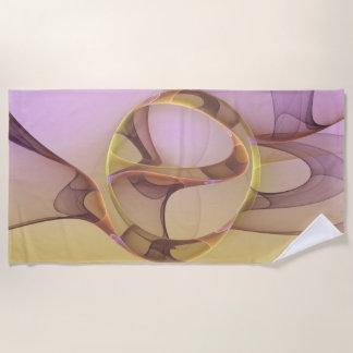 Abstract Motions Modern Pink Golden Fractal Art Beach Towel