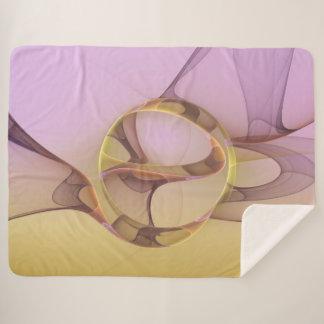 Abstract Motions Modern Pink Golden Fractal Art Sherpa Blanket