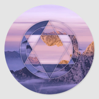 Abstract mountain landscape classic round sticker