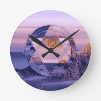 Abstract mountain landscape clock