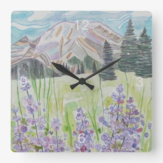 Abstract Mountain Scene Square Wall Clock