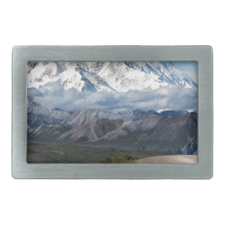 Abstract mountains white Alaska landscape Belt Buckles