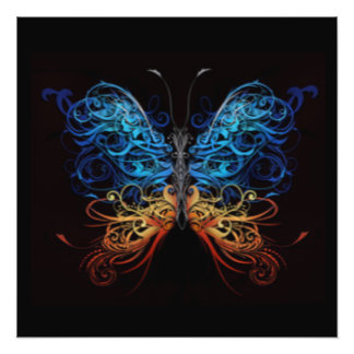 Abstract Multi Color Butterfly Photo Print
