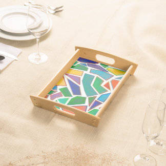 Abstract Multi Color Mosaic Artistic Design Serving Tray