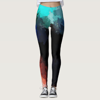 Abstract multi colour paint art leggings