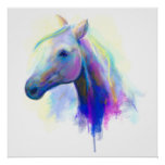 Abstract multi-coloured head horse poster