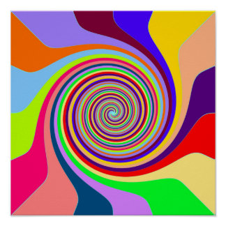 Abstract Multi-coloured Swirl Poster