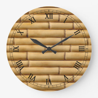 Abstract multicolor bamboo textures large clock