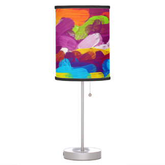 Abstract Multicolor Watercolor Pattern #5 Table Lamps