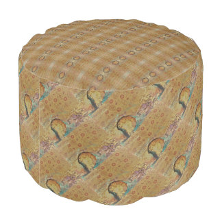 Abstract MultiColored Design with a hint of Floral Pouf