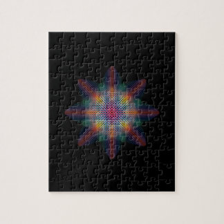 Abstract Multicolored Star on Solid Black Puzzle