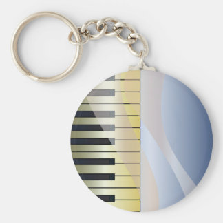 Abstract Music Background Basic Round Button Keychain