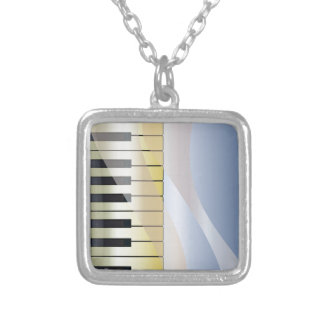 Abstract Music Background Silver Plated Necklace