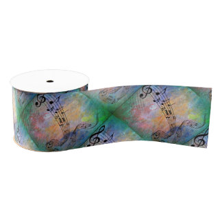 abstract music grosgrain ribbon