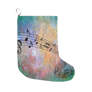 abstract music large christmas stocking