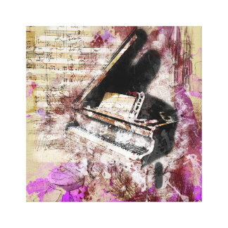Abstract Music Piano Design Purple Canvas Wall Art