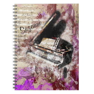 Abstract Music Piano Theme Journal Purple
