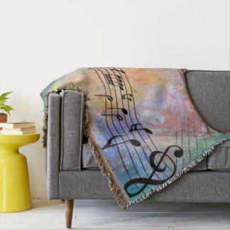abstract music throw blanket
