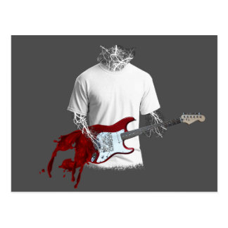 Abstract Musician Playing Melting Electric Guitar Postcard