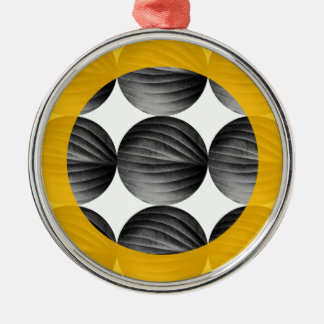 Abstract Mustard Yellow and Grey Silver-Colored Round Ornament