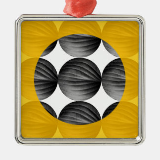 Abstract Mustard Yellow and Grey Silver-Colored Square Ornament