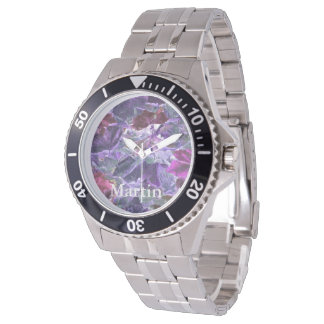 Abstract Nature Leaf Pattern Purple Watch
